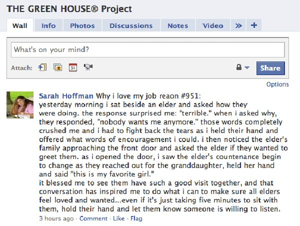 What People are Saying: The Green House on Facebook