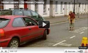 Woman crossing the road