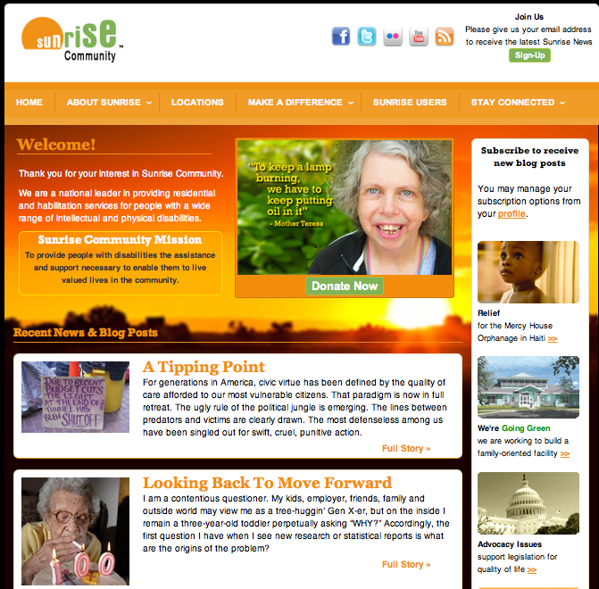 Sunrise Communities website