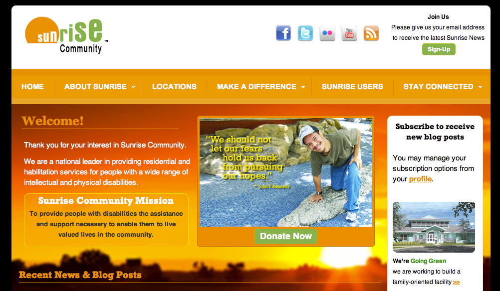 Sunrise Home Page